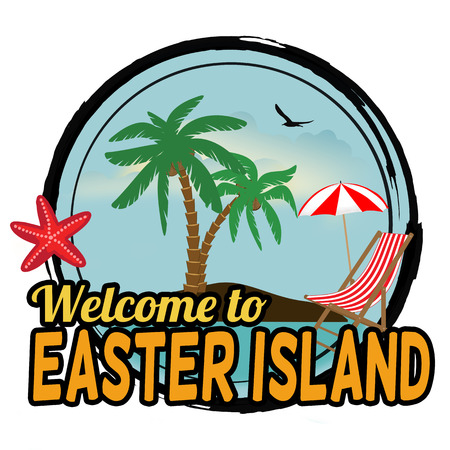 Welcome to Easter Island concept for t-shirt and other print production on white background, vector illustration