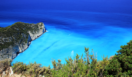 Blue lagoon of Navagio Beach in on Zakynthos island, Greece