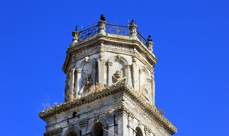Detail of bell tower of St. Nikolaos church in Kiliomeno village on Zakynthos island, Greece Stock Photo