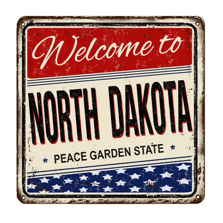 Welcome to North Dakota vintage rusty metal sign on a white background, vector illustration