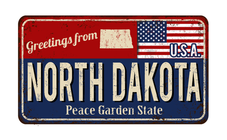 greet: Greetings from North Dakota vintage rusty metal sign on a white background, vector illustration