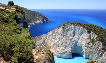 ionian: Blue lagoon of Navagio Beach in Zakynthos island, Greece