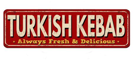 Turkish Kebab vintage rusty metal sign on a white background, vector illustration