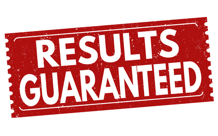 assured: Results guaranteed grunge rubber stamp on white background, vector illustration