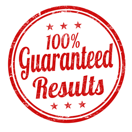 attested: 100%  Guaranteed results grunge rubber stamp on white background, vector illustration Illustration