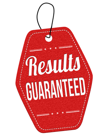 Results guaranteed price tag on white background, vector illustration