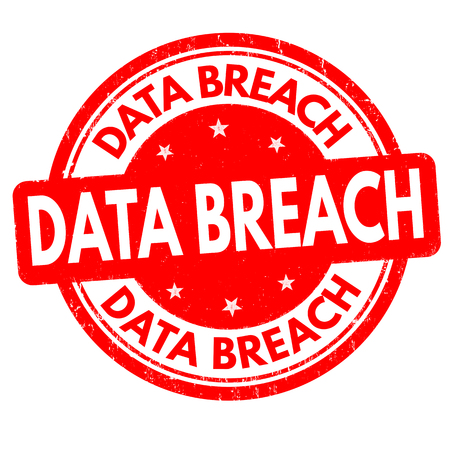 Data breach sign or stamp on white background, vector illustration Stock Photo