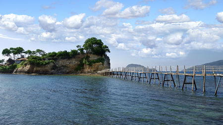 A bridge to the Cameo island in Zakynthos island, Greece
