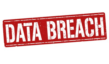 cyber war: Data breach sign or stamp on white background, vector illustration Stock Photo