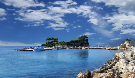 Cameo Island and Agios Sostis port in Zakynthos island, Greece