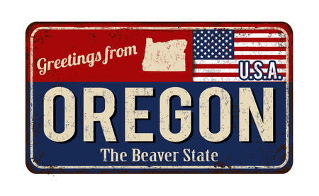 greet: Greetings from Oregon vintage rusty metal sign on a white background, vector illustration