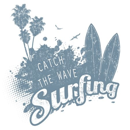 Surfing typography design t-shirt or poster on white background, vector illustration Çizim