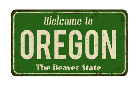 Welcome to Oregon vintage rusty metal sign on a white background, vector illustration