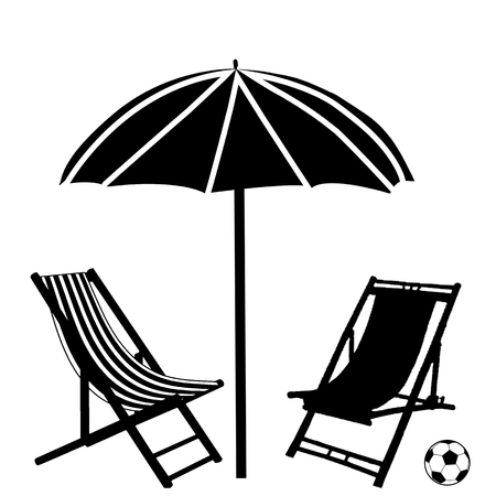 Beach chaise lounges and umbrella on white background, vector illustration Illustration