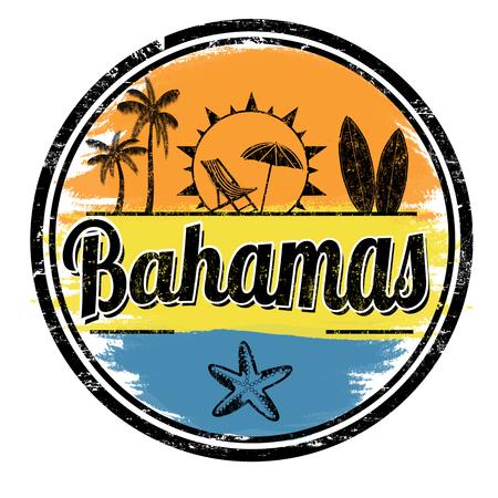 バハマの記号または白い背景、ベクトル イラストのスタンプ  イラスト・ベクター素材