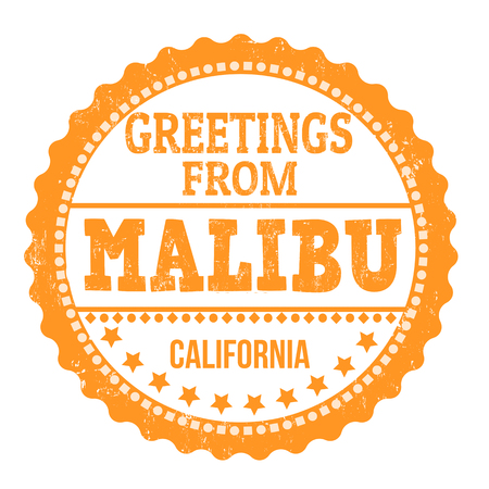 Greetings from Malibu sign or stamp on white background, vector illustration
