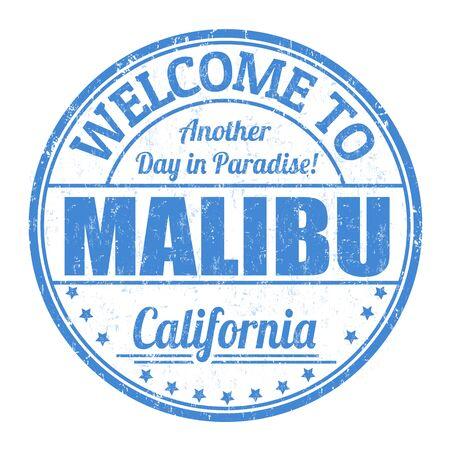 malibu: Welcome to Malibu grunge rubber stamp on white background, vector illustration Illustration