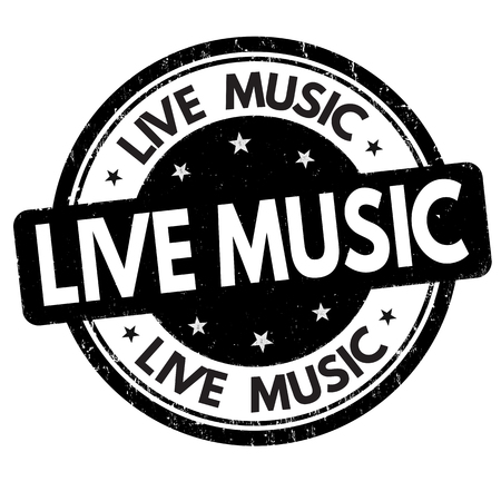 Live music sign or stamp on white background, vector illustration