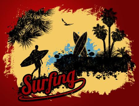 Surfendes typografisches Plakatdesign mit Surferschattenbild und -palmen auf Retro- Hintergrund, Vektorillustration
