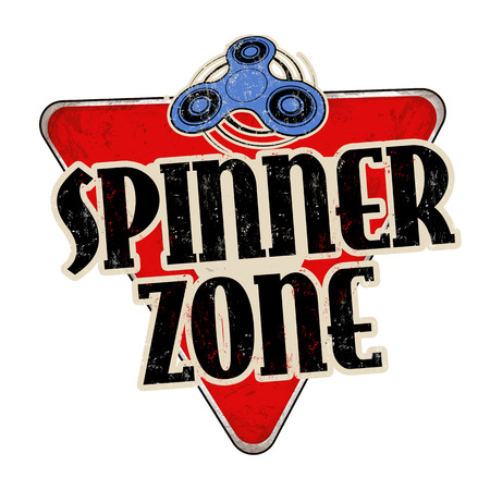 Spinner zone vintage rusty metal sign on a white background, vector illustration