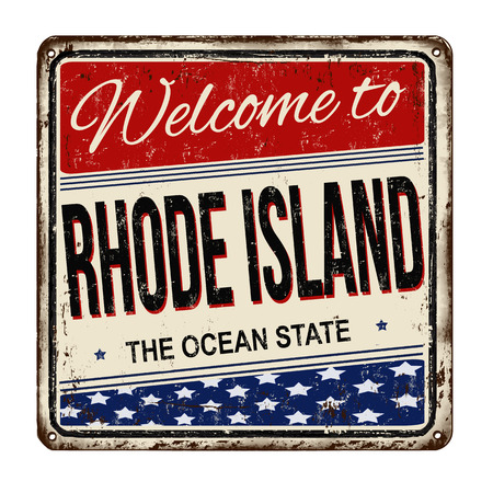 popular: Welcome to Rhode Island vintage rusty metal sign on a white background, vector illustration