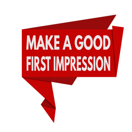 Make a good first impression origami speech bubble on white background, vector illustration