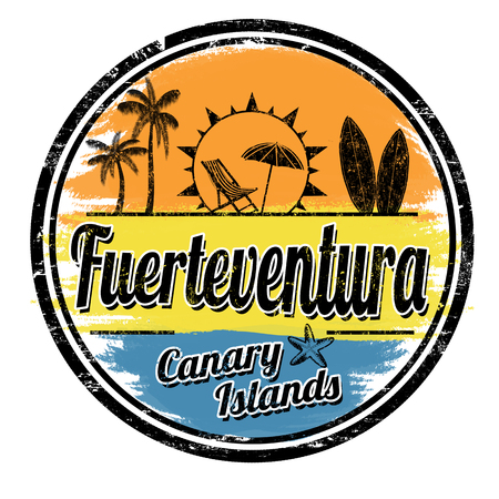 Fuerteventura grunge stamp on white background, vector illustration