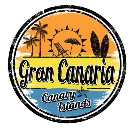 Gran Canaria grunge stamp on white background, vector illustration