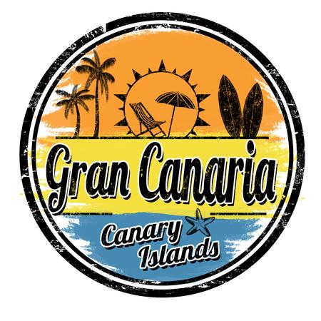 Gran Canaria grunge stempel op witte achtergrond, vectorillustratie Stock Illustratie