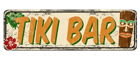 Tiki bar vintage rusty metal sign on a white background, vector illustration