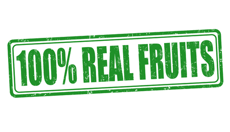 attached: 100% Real fruits sign or stamp on white background, vector illustration