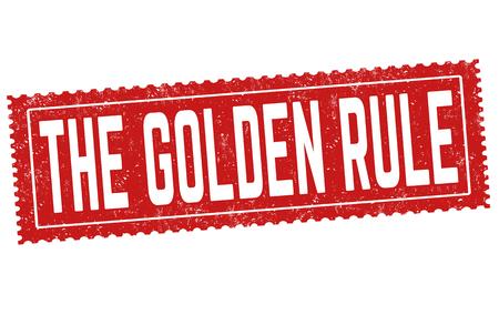 La señal de regla de oro o sello sobre fondo blanco, ilustración vectorial