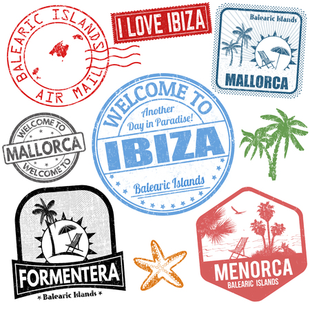 Set of travel grunge stamps with Balearic Islands on white background, vector illustration Ilustrace