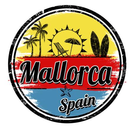 Timbre grunge de Majorque sur fond blanc, illustration vectorielle Banque d'images - 81056709