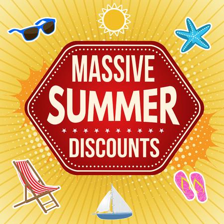 Diseño de cartel de publicidad de venta masiva de verano, ilustración vectorial