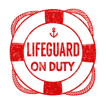 Lifeguard sign or stamp on white background, vector illustration