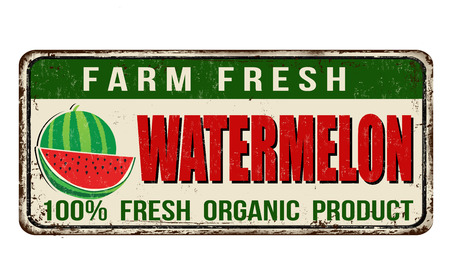 Watermelon vintage rusty metal sign on a white background, vector illustration Illustration