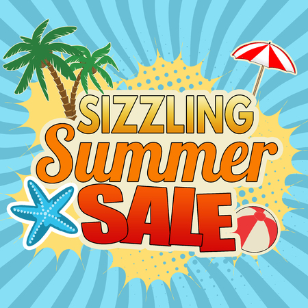 Sizzling summer sale advertising poster design on blue, vector illustration