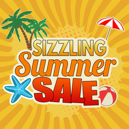 Sizzling summer sale advertising poster design on orange background, vector illustration