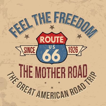 Tipografia di Route 66 per stampare la maglietta su sfondo stile retrò, illustrazione vettoriale
