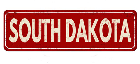 greet: South Dakota vintage rusty metal sign on a white background, vector illustration