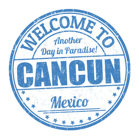 Welcome to Cancun sign or stamp on white background, vector illustration