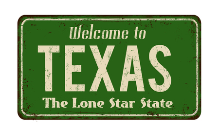 greet: Welcome toTexas vintage rusty metal sign on a white background, vector illustration Illustration