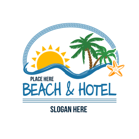 beach sunset: Concept for travel agency, tropical resort, beach hotel and spa, logo design template