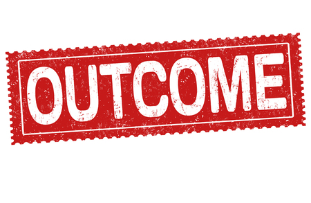 Outcome sign or stamp on white background, vector illustration