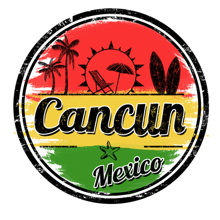 Cancun sign or stamp on white background, vector illustration