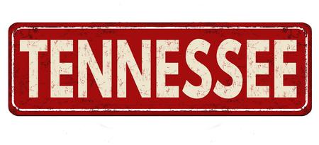 Tennessee vintage rusty metal sign on a white background, vector illustration Ilustração