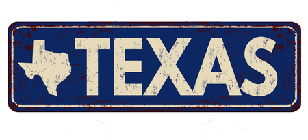 greet: Texas vintage rusty metal sign on a white background, vector illustration