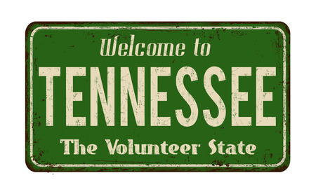 greet: Welcome to Tennessee vintage rusty metal sign on a white background, vector illustration