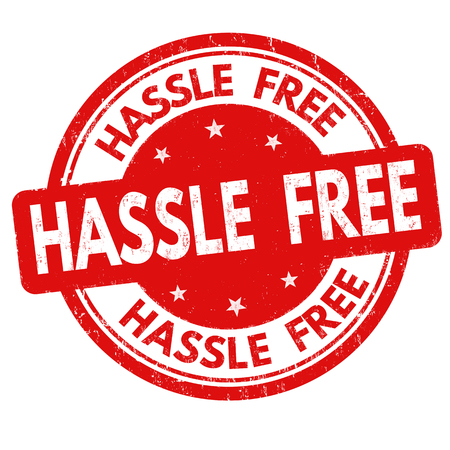 Hassle free sign or stamp on white background, vector illustration